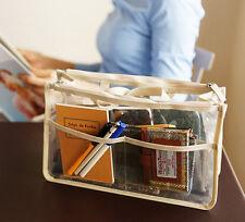 Women's Clear Dual Zipper Toiletry Cosmetics Bags Organizer Handbag Random Color