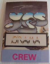 YES Laminated CREW Backstage Tour Pass - DRAMA Tour