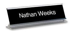 Name Plate-Custom Name Engraved BLACK Interchangeable  2 x 8 - Desk Name Plate