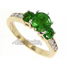 Tsavorite Garnet & Diamond Anniversary Ring 14k Yellow Gold Sizes 4 to 9.5
