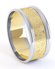 10K Gold Irish Handcrafted Celtic Swirl Design Wedding Anniversary Ring 9mm