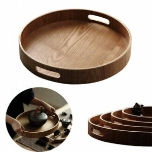 Wooden Round Tea Coffee Meals Serving Plate Platter Tray Tableware with Handle