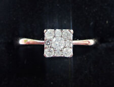 9ct White Gold 0.15ct Diamond Square Cluster Ring, Size K