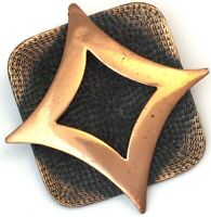 VINTAGE BROOCH COPPER TONE METAL ABSTRACT MODERNIST COSTUME JEWELRY PIN