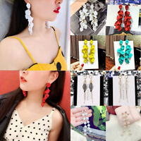 Fashion Pearl Flower Dangle Drop Earrings Women Long Tassel Stud Earring Leaf