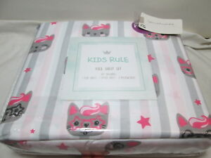 Kids Rule KITTY CAT STRIPE STAR Full Sheet Set ~ Pink, Grey, Black, White New