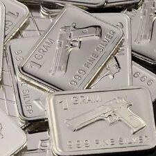 """""""Desert Eagle Pistol"""" Design. Lot of 10, 1 gram .999 Fine silver bullion bar."""