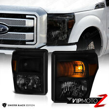 [SINISTER BLACK] 2011-2016 Ford SuperDuty SD F250 F350 F450 Smoke Headlights New