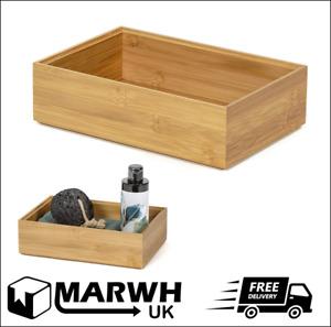 Compactor Osaka 100% Bamboo Rectangle Storage Box Desk Tidy Medium NEW