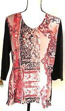 Chico's Black Red 3/4 Sleeve V-Neck Top Career Shirt Chicos Sz 2
