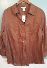 NWT Dressbarn Size 3X (22/24W) Brown Button Down Blouse Top