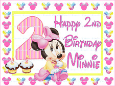MINNIE MOUSE BABY 2nd BIRTHDAY: personalized Edible Image Cake Topper  FREE SHIP