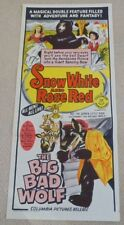 SNOW WHITE AND RED ROSE / THE BIG BAD WOLF. ORIGINAL DAYBILL MOVIE POSTER 1966