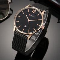CURREN Men's Casual Steel Mesh Strap Watch Large Dial Analog Quartz Wristwatch