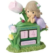 New PRECIOUS MOMENTS Perpetual Calendar Figurine GIRL PURPLE PINK TULIP FLOWER
