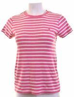 RALPH LAUREN Womens T-Shirt Top Size 14 Large Pink Striped Cotton Slim Fit  EG09