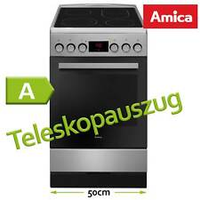 50cm Amica Standherd Edelstahl Elektro freistehend Ceran Kochfeld Teleskopauszug