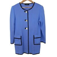 Misook Long Blazer Knit Jacket Crystal Style Buttons Blue Purple Womens Large