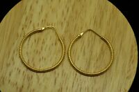 18K YELLOW GOLD TEXTURED FINISH HOLLOW ROUND HOOP EARRINGS 28mm