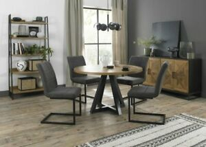 Lowry Rustic Oak 4 Seater Dining Table with Peppercorn Legs & 4 Lewis Distressed