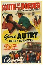 "GENE AUTRY SOUTH OF THE BORDER -  VINTAGE WESTERN MOVIE POSTER 12"" X 18"""