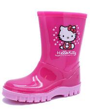 GIRLS PINK HELLO KITTY WELLIES INFANTS RAIN SPLASH PRE-SCHOOL BOOTS SHOES UK 6-2