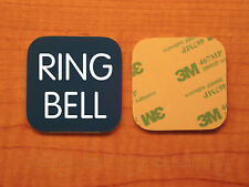 Engraved 2x2 Blue RING BELL Plastic Tag Sign Plate   Doorbell Plate Door Plaque