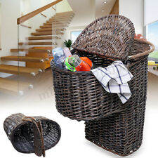 Wicker Handwoven Stair Step Storage Box Basket Container Carry With Handle  !!