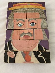 Vintage Playskool 1969 Wood Block Puzzle Captain Kangaroo Changeable 4 Faces