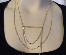 "$18 Nordstrom Ladder Bar Pendant Layering Necklace Goldtone 37"" Long Chain"