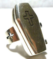 RARE LARGE MARCHE NOIR STERLING SILVER COFFIN POISON SMUGGLER HIDDEN RING SIZE 7
