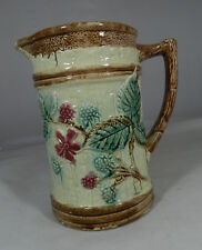 """Antique Majolica  Pitcher Raspberies and Leaves 7 5/8"""" tall"""