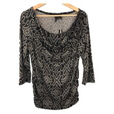 NWT New Direction Black White Layered Cowl Neck Floral 3/4 Sleeve Blouse - PL