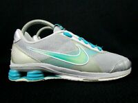 Nike Women Shoe Shox Zip Diamond Flex Size 9M Silver Teal Sneaker (386382-031)