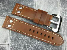 24mm Aviation Pilot Style Button Leather Strap Rivet Band Choco Brown Navitimer
