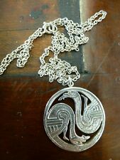 Vintage Genuine Silver Celtic Celt Zoomorphic Bird Round necklace pendant chain