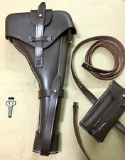 "Luger P-08 8"" inch Artillery Holster w. Stock Straps BROWN LEATHER Takedown"