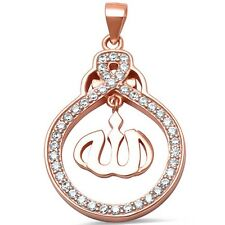 Rose Gold Plated Cz Allah Charm .925 Sterling Silver Pendant