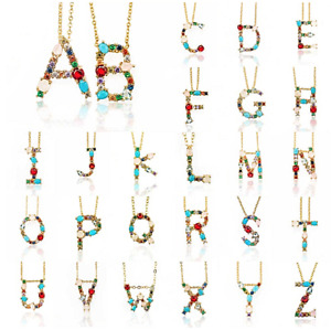 New Alphabet Letters Gold Rhinestone Charm Chain Pendant Charm Initial Necklace