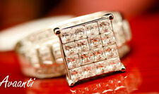 Women Engagement Wedding Ring Sterling Silver 925 Princess Invisible Setting CZs