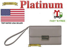 Platinum Clutch Leather Wallet Wrist Case for Apple iPhone 7 Gray Wristlet