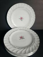 """Pink Rose 10 1/4"""" inch Dinner Plates Royal Swirl Fine China of Japan Set of 5"""