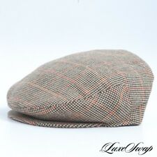 Luigi Baroni Made in Italy Cashmere Blend Brown Multi Check Plaid Flat Cap Hat L