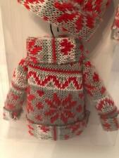 "NWT Sets of 3 Knit Sweater Ornaments Red, Gray, and White - Each 5"" Tall"