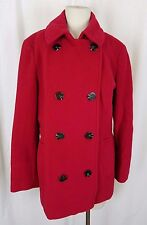 Calvin Klein Wool Long Peacoat Medium Length Coat Womens M Red Double Breasted