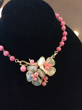 TRIFARI Pink Poured Glass Flower Necklace Choker