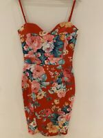 RED FLORAL STRAP CAMI STRETCH DRESS 14 NEW PARTY GLAM TOWIE WEDDING SUN PRETTY