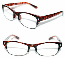 Men's Clear Lens small Square Shape Rimless Soho Clear Lens Eye Glasses Brown