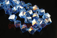 10pcs Blue AB Glass Crystal Faceted Bevel Hole Cube Bead 10mm Spacer Findings