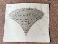 Original NOS Thomas A. EDISON GEM Decal CYLINDER METAL HORN PHONOGRAPH